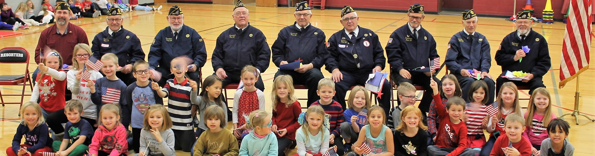 Elementary students greet our local veterans on Veteran's Day